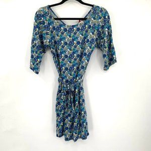LEOTA Compass Rose Blue Floral Dress Tie Waist S